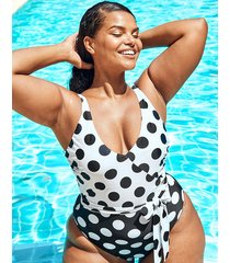 marilyn curve non wired polka dot tummy control one-piece swimsuit