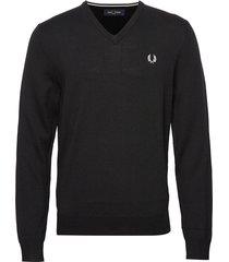 classic merino v/n stickad tröja v-krage svart fred perry