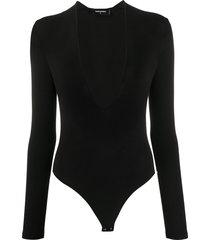 dsquared2 deep v-neck fine knit bodysuit - black