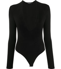 dsquared2 deep v-neck fine knit bodysuit - black