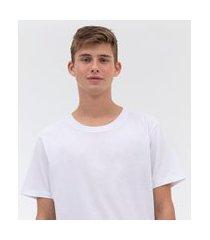camiseta alongada com etiqueta na barra | blue steel | branco | g