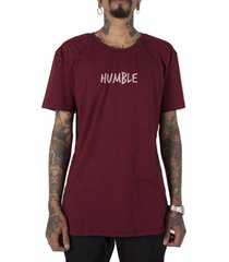 camiseta longline stoned gold humble bordô