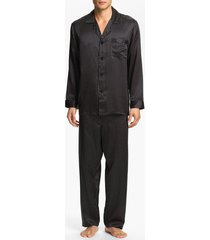 men's majestic international dot silk pajamas, size x-large - black