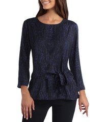 women's three quarter sleeve wrap front blouse