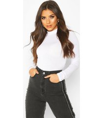 basic high neck long sleeve top, white