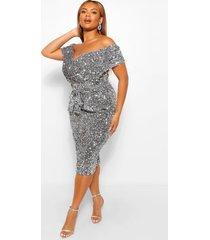plus off shoulder midi wikkel jurk met pailletten, zilver