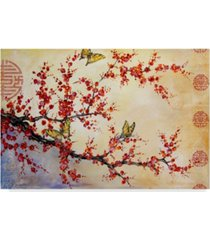 """jean plout 'butterfly blossoms asian' canvas art - 47"""" x 30"""""""