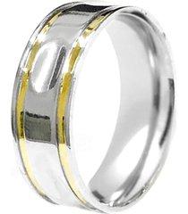 aliança prata mil reta fresa cava de prata c/ filete de ouro prata