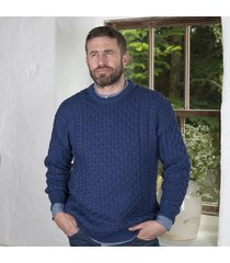 men's 100% soft merino wool crew neck sweater denim xxl