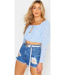 broderie anglaise peasant top, blue