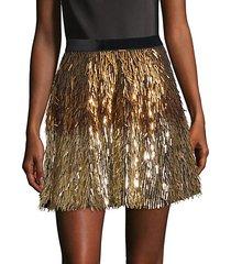 cina embellished glitter tassel mini skirt