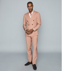 reiss exquisite - wool-blend slim-fit trousers in pink, mens, size 38