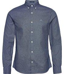 d1. melange dobby slim bd skjorta casual blå gant