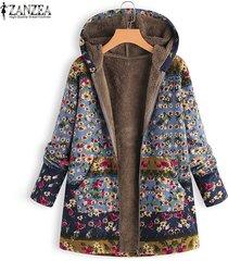 zanzea mujeres invierno cálido zip up sudaderas con capucha abrigo largo chaqueta outwear parka plus - azul