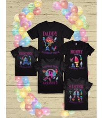 trolls birthday t shirt poppy and branch birthday party family t shirts