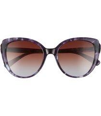 women's longchamp 55mm butterfly sunglasses - marble blue/ brown blue