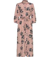 delicate shirt dress maxi dress galajurk roze by ti mo