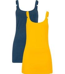 top lungo in cotone con spalline regolabili (pacco da 2) (giallo) - bpc bonprix collection