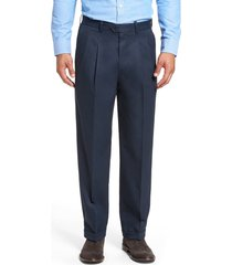 men's big & tall nordstrom classic smartcare(tm) pleated supima cotton dress pants, size 46 x 32 - blue