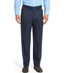 men's big & tall nordstrom men's shop classic smartcare(tm) supima cotton pleated dress pants, size 46 x 32 - blue