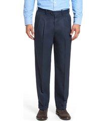 men's big & tall nordstrom men's shop classic smartcare(tm) supima cotton pleated dress pants, size 46 x 32 - blue