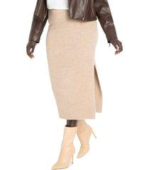 plus size women's eloquii sweater knit pencil midi skirt, size 14w/16w - beige