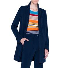 women's akris punto laser cut crepe blazer coat, size 2 - blue