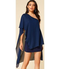 yoins navy double layer one shoulder overlay mini dress