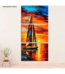 conjunto de telas decorativa pintura barco a vela com sol médio