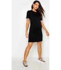 maternity leopard ringer t-shirt dress, black