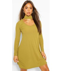 cut out high neck swing dress, olive