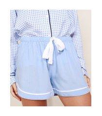 short de pijama feminino com vivo contrastante e laço azul claro