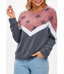 color blocking star jersey knit pullover sweatshirt