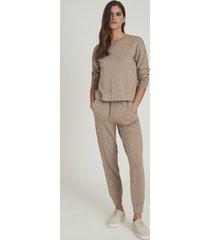 reiss piper - brushed loungewear sweatshirt in camel, womens, size l