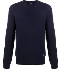 a.p.c. long sleeve embroidered logo sweater - blue