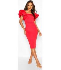 bonded scuba ruffle sleeve midi dress, red