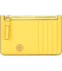 tory burch robinson zipped card holder - yellow
