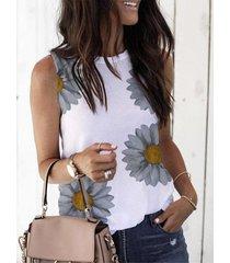 blusa sin mangas con estampado floral y cuello redondo