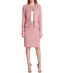 tahari asl double breasted tweed button-front peplum blazer