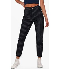high rise stripe skinny tube jeans, black