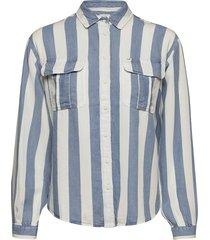 box pleat shirt långärmad skjorta blå lee jeans
