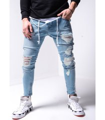 hombre street style ripped tapered fit jeans