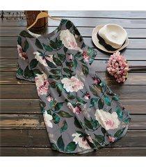 zanzea mujeres más el tamaño de una línea de boho floral vestido de tirantes vestido de fiesta de la playa de algodón (de manga corta) -gris