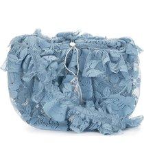 yuhan wang ruffled floral-lace crossbody bag - blue