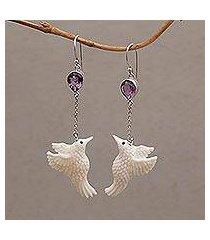 amethyst dangle earrings, 'dancing hummingbirds' (indonesia)
