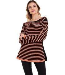suéter kinara tricot listrada cordão mousse feminino