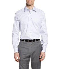 men's big & tall david donahue trim fit check dress shirt, size 17 - 36/37 - white