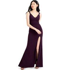 city studios juniors' glitter lace-back slim gown