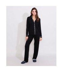 pijama feminino camisa manga longa com vivo contrastante preto