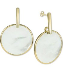 argento vivo mother-of-pearl disc drop earrings in gold-plated sterling silver